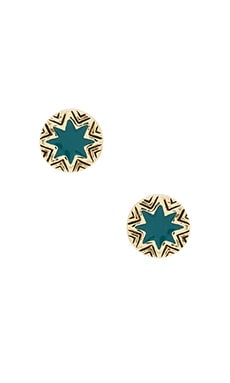House of Harlow Engraved Sunburst Stud in Dark Teal