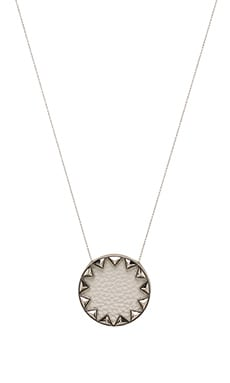 Sunburst Pyramid Necklace in Silver & White