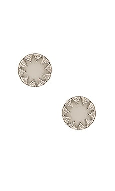 Pave Sunburst Earrings in Light Grey