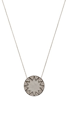 Pave Sunburst Necklace in Light Grey