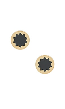 Enameled Sunburst Studs in Gold & Dark Grey