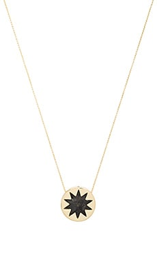 Mini Sunburst Pendant Necklace in Dark Grey