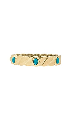 Ribbed Valda Bangle in Gold & Turquoise