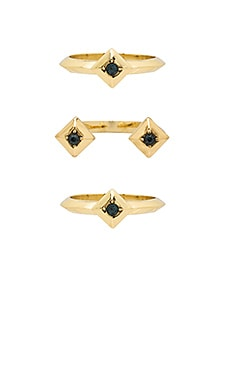 The Lyra Ring Set in Gold & Blue