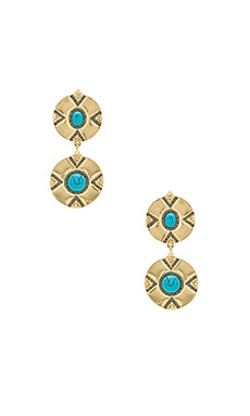 x REVOLVE Dorelia Double Coin Earring in Gold & Turquoise
