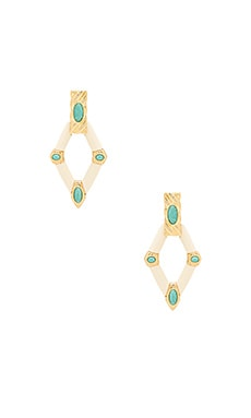 Valda Statement Earrings in Gold & Brazilian Amazonite