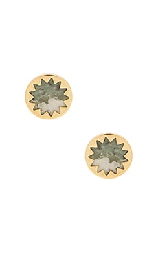 Sunburst Button Earring in Gold & Lucky Jade