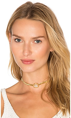Sunburst Choker Necklace em Gold & Mop
