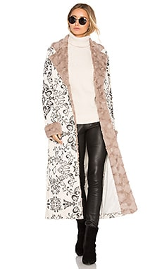x REVOLVE Margeaux Coat with Faux Fur in Cream