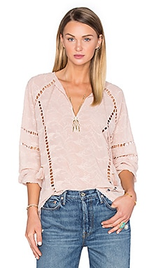 x REVOLVE Sophie V-Neck Blouse in Taupe