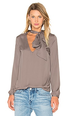 x REVOLVE Naomi Tie Neck Blouse in Ash