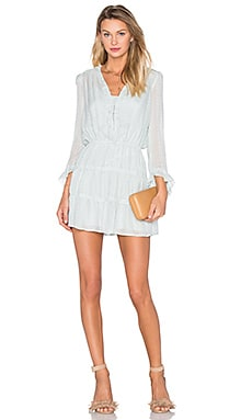 Long Sleeve V Neck Mini Dress en Water Green