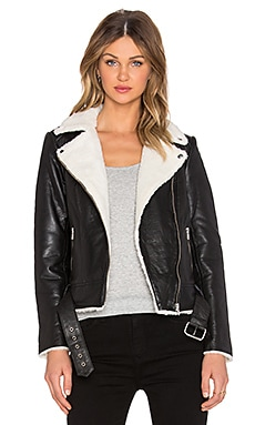 Hoss Intropia Shearling Moto Jacket in Black