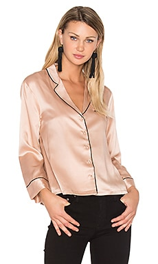 V Neck Button Up Blouse in Pale Pink