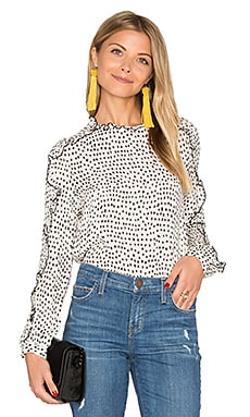 Long Sleeve Ruffle Blouse in Ivory Print