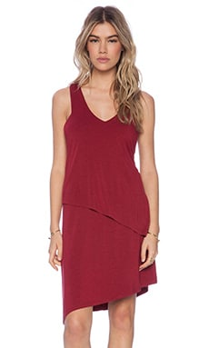 Heather Asymmetrical Dress in Heather Crimson