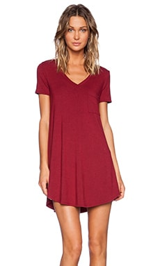 Heather V Neck Pocket Tee Dress in Heather Crimson