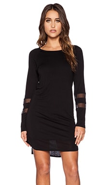 Heather Stripe Shift Dress in Black