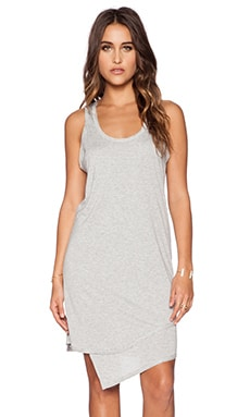 Heather Asymmetrical Double Layer Dress in Light Heather Grey