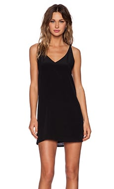 Heather Silk Front Slip Dress in Black