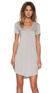 Heather V Neck Pocket Tee Dress in Heather Grey