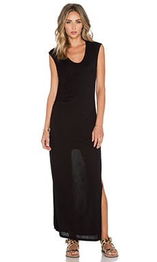 Heather Shirred Maxi Dress in Black