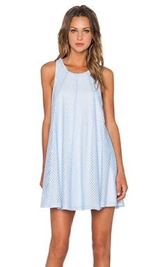 Heather Lace Panel A-Line Dress in Cloud