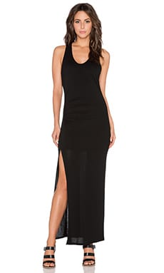 Heather Racer Back Slit Dress in Black