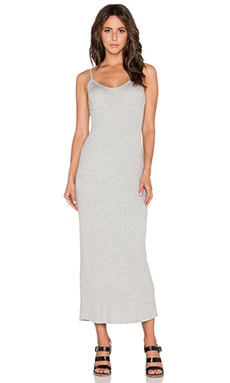 Heather Rib Slit Back Maxi Dress in Light Heather Grey