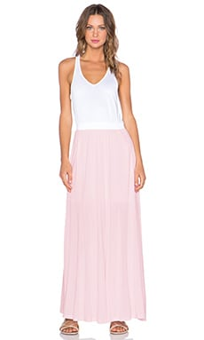 Heather Racer Back Maxi Dress in White & Pink
