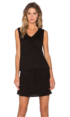 Heather V Neck Drawstring Dress in Black
