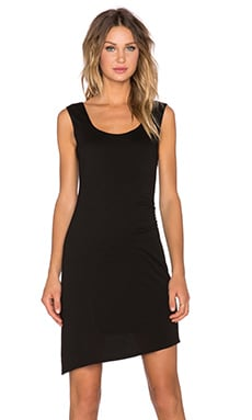 Heather Asymmetric Shirred Dress in Black