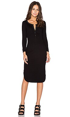 Heather Silk Trim Henley Dress in Black