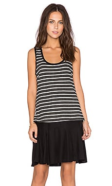 Heather Silk & Stripe Layer Dress in Black & Ivory
