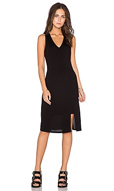 Heather Keyhole Slit Midi Dress in Black