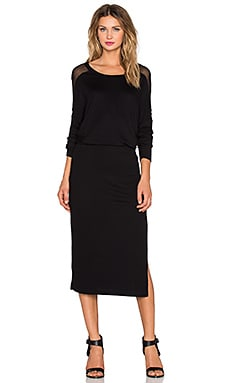 Heather Raglan Silk Yoke Dress in Black