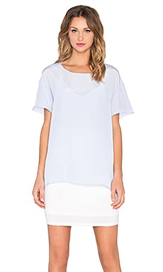 Heather Silk Overlay Tee Dress in Periwinkle & White