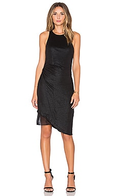 Heather Asymmetrica Layered Linen Foil Dress in Black & Black