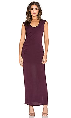 Heather Shirred Slit Maxi Dress in Wine