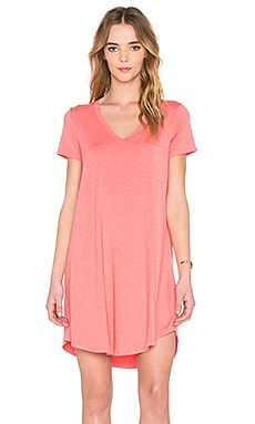 V-Neck Pocket Tee Dress in Heather Citrus