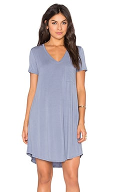 V-Neck Pocket Tee Dress in Quarry