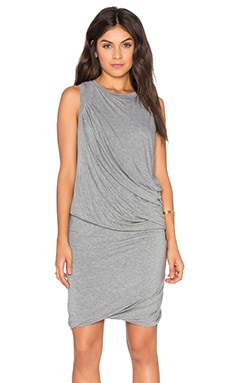 Heather Twisted Mini Dress in Light Heather Grey