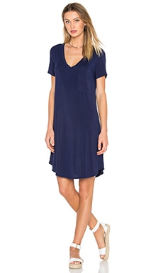 V-Neck Pocket Tee Dress in Eclipse