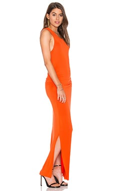 Shirred Midi Tank Dress en Orange Sanguine