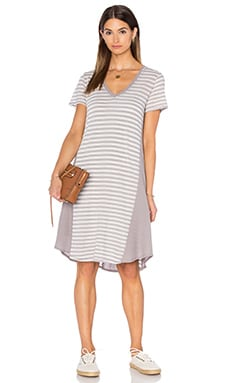 Heather Panel Tee Dress in Chrome Stripe