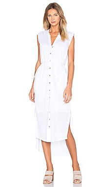 Linen Maxi Shirt Dress en Blanco