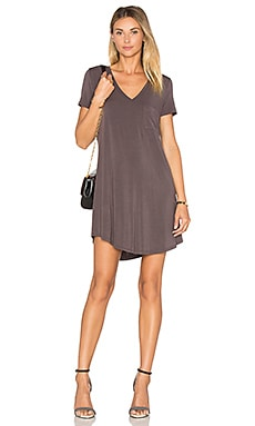 V Neck Pocket Tee Dress in Oak