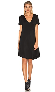 V Neck Pocket Tee Dress in Black