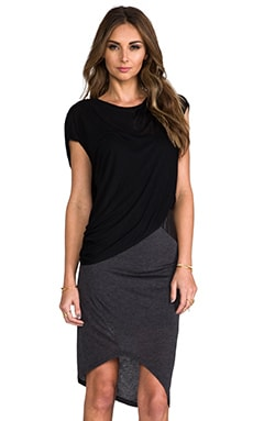 Heather Asymmetric Leather Detail Dress in Black & Heather Black