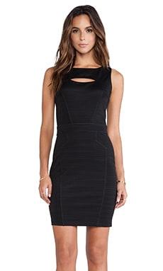 Heather Seamed Peekaboo Mini Dress in Black